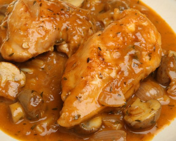 Chicken Chasseur Classic French Casserole with Mushroom, Shallots and Herbs.